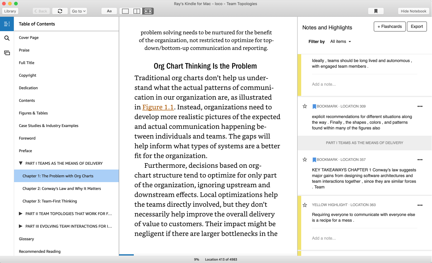 Kindle for Mac with both sidebars open